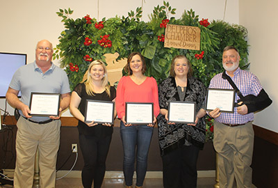 also receiving longevity awards were, from left, Bob Jettinghoff, Reliable Plumbing and Heating, 55 years; Virginia Riffle, Community Health Professionals, 45 years; Tiffany Williams, Van Wert Health, 115 years; Lois Spangler, Delphos Vision Care, 90 years; and Eric Fritz, Ace Hardware, 145 years.